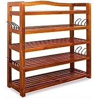 Wooden Shoe Rack 5 Tier Storage Cabinet Wood Shelf For Hallway Large  Furniture Organiser Unit Brown