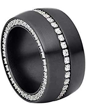 steel_art Damen-Ring ductus schwarz swarovski zirconia weiß 1,5 mm Ringe mit Stein Zirkonia Diamant Brillantfassung...