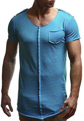 LEIF NELSON Herren oversize T-Shirt Rundhals Basic Shirt Top Crew Neck LN6288 Tuerkis