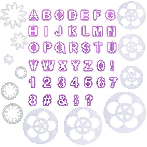 Faburo 52tlg Fondant Ausstecher ,44 Buchstaben Ausstechformen Alphabet Zahlen und 12pc Ausstecher Stempel ,Tortendeko