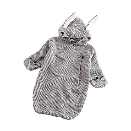 Baby Winter Gestrickt Schlummersack Mit Kaninchenohr 0-12 Monat Neugeborenes Baby Wolle Swaddle Decke Langarm Pyjamas Pucktücher Kleinkind Button-dow Babydecken Sicherheitsdecken (Grau) - Grau Wolle-button
