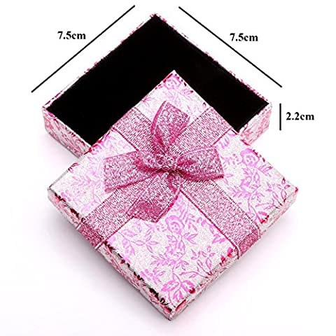 RKC x 2 Pcs Beautiful Sparkling PINK Ribbon JEWELLERY GIFT BOXES For Necklace Bracelet Earrings Rings Baby Showers Wedding Favours Birthdays Charms Wholesale Sets