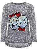 BEZLIT Mädchen Kinder Pullover Wende Pailletten Sweatshirt Meliert 22856 Grau Größe 128