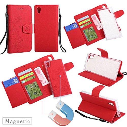 Abnehmbare 2 in 1 PU + TPU Ledertasche geprägte Blumen Stil glänzende Sparkles Brieftasche Stand Case Cover mit Kreditkarte Slots & Lanyard & Magnetic Closure für Sony Xperia XA1 ( Color : Rose gold ) Red