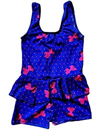 702a1b8857 Baby & Sons Infant Girl's Poly Cotton Swimsuit Swimming Costume (Blue; 2-3
