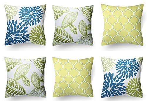 Modern Homes 100% Cotton Floral Design Blue-Green Decorative Throw Pillow/Cushion Covers (Set...