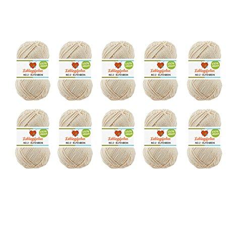 Häkelgarn Baumwolle: 10er Pack Häkel- und Strickgarn Baumwolle und Kapok Lieblingsfarben No.2 500g Farbe: (Elfenbein)