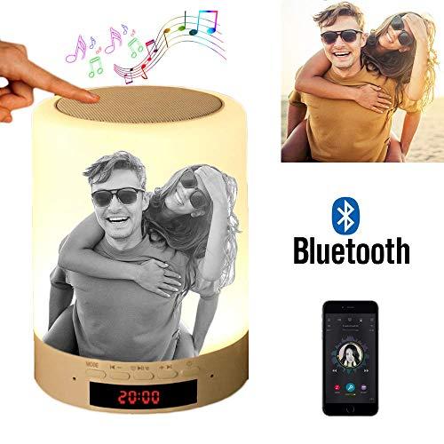 Benutzerdefiniertes Foto Nachttischlampe Stimmungslicht mit Bluetooth Lautsprecher, USB Wiederaufladbar Smart Touch Control Nachtlicht Musik Spielen Tischlampe für Schlafzimmer (Schwarz und weiß)