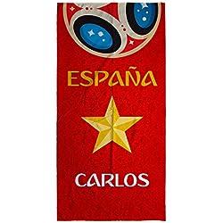 Lolapix Toalla España Playa Personalizada con tu Nombre o Texto | Selección Española | Varios Tamaños | Algodón | Mundial