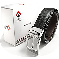 alfami Men's Reversible PU Leather Belt | Black/Brown | Premium Buckle | Upto 44 Size