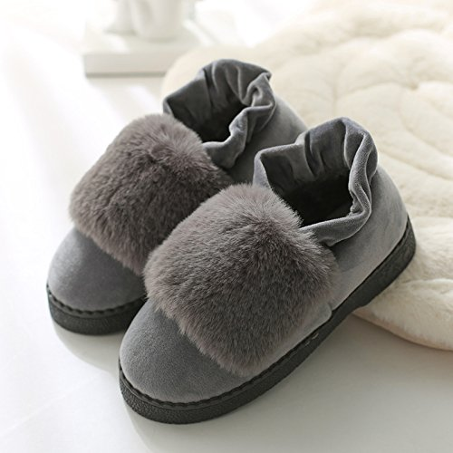 DogHaccd pantofole,Inverno caldo cotone pantofole in camera, spessa antiscivolo pacchetto termale con eleganti scarpe di cotone morbido scarpe di fondo Grigio2