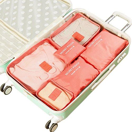 Belsmi Reise Kleidertaschen Set 6-teilig Reisetasche in Koffer Reisegepäck Organizer Kompression Taschen Kofferorganizer Mit Schuhbeutel (Wassermelone Rot) (Mit Schuhfach Fitnessraum)
