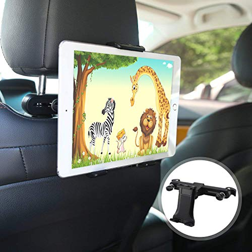 Tablet Halterung Auto, POMILE KFZ Kopfstützen iPad Kopfstützen Halterung Autositz Kopfstützenhalterung für iPad Pro Air Mini, Fire Tablets mit Alexa, Handys,4