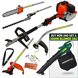 Fox Garden Commander 52cc 4 in 1 Multi Function Tool Petrol Hedge Trimmer / Chainsaw / Brush Cutter / Grass Trimmer + Powerplus 3000w Blower Vac