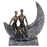 Brillibrum Design Skulptur Liebespaar Mond Bronze Deko-Objekt Figur Freundschaft Statue Moon Polyresin