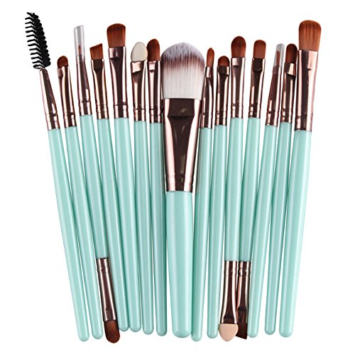 Qiao Nai (TM) 15Pcs Pro Pinceau Brosse Rose Maquillage Joues Fond Teint Poudre Yeux Visage Brush Cadeau (Vert + Café)