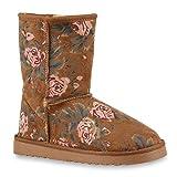 Warm Gefütterte Boots Schlupfstiefel Schleifen Pailletten s Kunstfell Stiefel Booties Winterstiefel Schuhe 127024 Hellbraun 39 Flandell