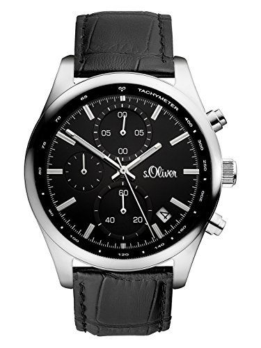 s.Oliver Time Herren Datum klassisch Quarz Uhr mit Leder Armband SO-3346-LC