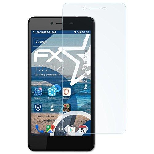 atFolix Schutzfolie kompatibel mit Archos 50e Neon Panzerfolie, ultraklare & stoßdämpfende FX Folie (3X)
