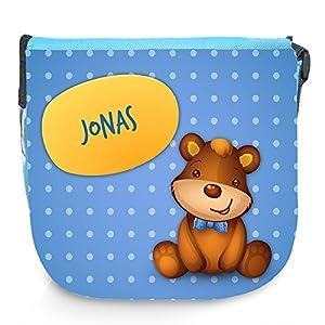 Umhängetasche für Kinder mit Namen Jonas und schönem Motiv mit Bär | Schultertasche für Jungen