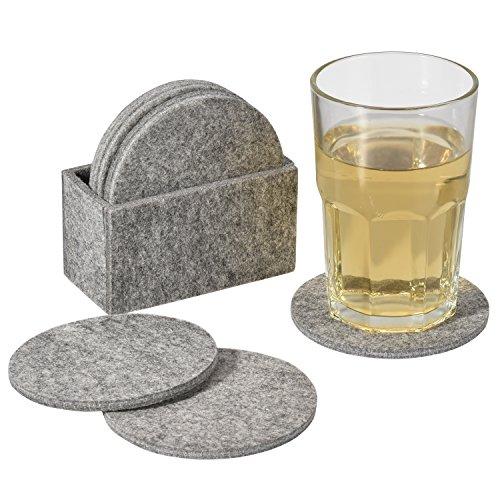 eLander Glasuntersetzer aus Filz, [8er Set mit Box] Getränke-Untersetzer für Tassen, Tisch, Bar, Glas, Gläser [Rund, Grau]