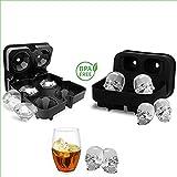 Lucy Deer Kat 3D Skull/Diamond Eiswürfelschale Form, Flexible Silikon Eiswürfelschale Mit Deckel, Eiswürfelbereiter In Formen Für Whiskey Eis Und Cocktails - BPA-Frei Schwarz + 2 Trichter (2Pack)
