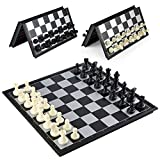 Magnetic Travel Chess Set, Traditional Folding Chess Board (12.5inchs*12.5inchs) with 32 Chess Pieces (Black&White)
