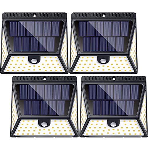 Lumière Solaire Extérieur, Luposwiten 82 LED Lampe Solaire Extérieur avec Détecteur Mouvements pour Spot Éclairage Grand Angle pour Jardin,Cour,Clôture, Garage,Patio,Solair Lampe [4 Pack,IP65 Etanche]