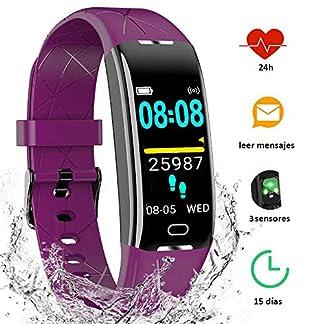 Yiyou Pulsera Actividad Inteligente Impermeable IP68, Monitor Ritmo Cardíaco y Sueño 7 Modos de Deporte, Leer Mensajes, Reloj Inteligente para Mujer Hombre Compatible con iOS y Android