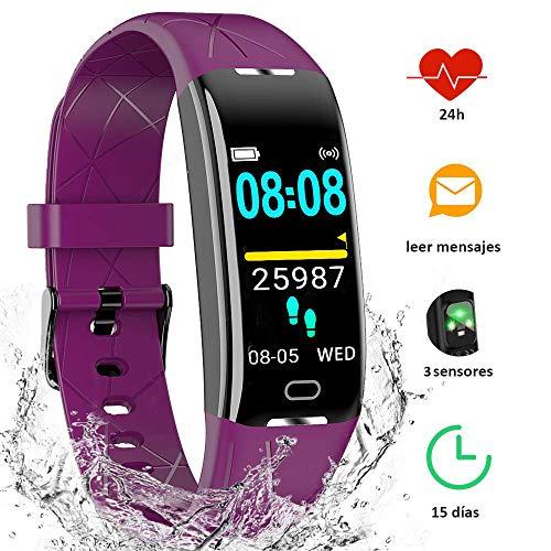 YIYOU Pulsera Actividad Inteligente Impermeable IP68, Monitor Ritmo Cardíaco y Sueño 7 Deporte, Leer Mensajes, Reloj Inteligente Deportivo para Mujer Hombre Compatible con iOS y Android (Morado)