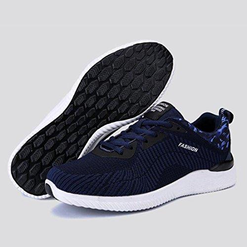 Scarpe da corsa in tessuto primavera maglia uomo scarpe da ginnastica moda leggero traspirante scarpe da ginnastica di tendenza Dark blue