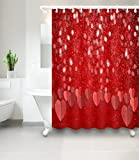 Glitzerndes Herz-Muster rot_Dekor Duschvorhang für Badezimmer 59W x71H Wasserdicht Polyester Stoff Badvorhang
