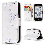 LuckyW Coque iPhone 5C Portefeuille, Housse Cuir Rabat pour Apple iPhone 5C Clapet...