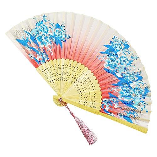 YOUNICER 1 stücke Falten Fans Handheld Bambus Hand Fan mit quaste chinesischen Fan für Hochzeit wanddekoration