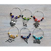 6 Knitting themed wine glass charms, perfect gift for a knitter