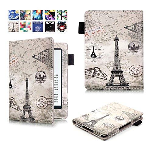 ProElite Designer Smart Flip case book cover for Amazon Kindle E Reader 6' 8th Generation 2016 Launch (Design-Eiffel) [will NOT FIT Paperwhite]