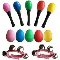 TOYMYTOY Children Wooden Maracas Kids Rattle Shakers 2 Maracas + 5 Egg Shakers + 5 Wrist Bells Musical Educational Toys