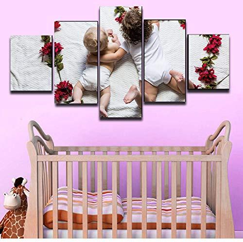 nvhaishiwo Wohnzimmer Babys Blumen HD gedruckt 5 Stück Malerei Leinwand Poster Baby Kinderzimmer Dekor modulare Wand Bild Wandbild Diagramm Diagramm Kunstwerk Tiere (Architektur-diagrammen)
