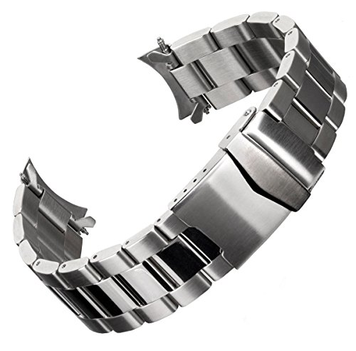 Cinturino orologio Geckota® Acciaio inossidabile Oyster Argento 20mm + 22mm