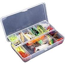 Lixada 105 Piezas Kit Señuelo de Pesca Artificial Caja de Pesca Cebo Duros / Suaves Incluye Ranas, Giratorios, Cuchara, Tipo Popper, Tipo Crank