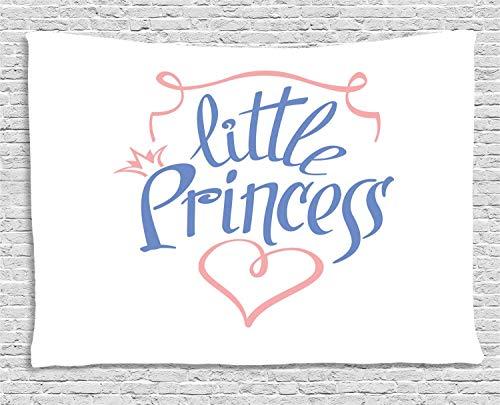 25dd3596 MLNHY Girl Slogan Tapestry, Little Princess in Curvy Handwriting Girly  Crown Queen Like Heart,