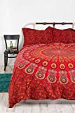 #7: Tapestry Lovers New Exclusive Range of Queen Size 100% Cotton Red Mandala Peacock Wings Duvet Cover Sets With 2 Pillow Covers, Indian Reversible Duvet Cover Quilt Cover Coverlet Bohemian Doona Cover Handmade 82