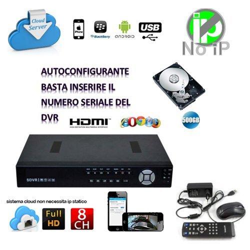 DVR IBRIDO NVR HVR SVR SDVR 8 CH CANALI FULL HD 960H CLOUD 3G WIFI PIU HARD DISK HD 500 GB GESTIBILE DA REMOTO REGISTRATORE VIDEOSORVEGLIANZA CONTROLLO WEB LAN VGA USB