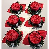 navidad Servilletas ros a rojo con Bux arbol corona y perlas,6 el paquete para la boda,el dia la madre, el cumpleanos y otras celebracionesl