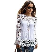 VOWSVOWS Neu Sexy Damen Tunika T-Shirt Spitze Longshirt Bluse Hemd Oberteil
