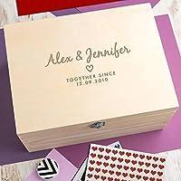 Personalisierbare Erinnerungsbox – Geschenk zum Hochzeitstag/Jahrestag – Box für Andenken – 3 Holzboxen zur Auswahl! Personalised Wedding Anniversary Gift Keepsake Box/Memory Box