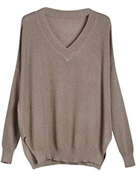 Vogueearth Fashion Hot Mujer's V-Neck Loose Knit Mesh Jumper Jersey Sudaderas Suéter Pull-over Pullover Top