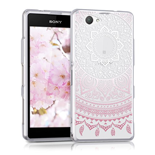 kwmobile Sony Xperia Z1 Compact Hülle - Handyhülle für Sony Xperia Z1 Compact - Handy Case in Rosa Weiß Transparent