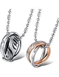Yellow Chimes Love Engraved Ring Style Two Piece Couple Pendant Pair for Women, Girls and Boys (Multi-Colour)