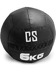 Capital Sports Bravor Balón medicinal PVC 6 Kg (entrenamiento del core, funcional y cross, resistente acabado robusto, cosido doble) - negro